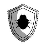 Monochrome contour sticker of shield with beetle virus Royalty Free Stock Photo
