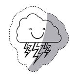 Monochrome contour sticker of smiling cloud with lightnings Royalty Free Stock Photography