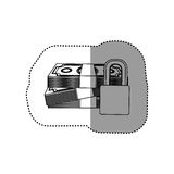 Monochrome contour sticker of stacked bills with padlock protection Royalty Free Stock Photography