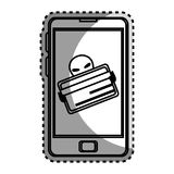Monochrome contour sticker with stealing credit card in cell phone Stock Images