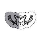Monochrome contour sticker with tiger head and olive branchs and middle shadow Royalty Free Stock Photos