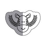 Monochrome contour sticker with zebra head and olive branchs and middle shadow Stock Images