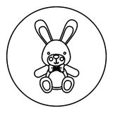 Monochrome contour with Stuffed rabbit in round frame Stock Photography