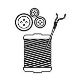 Monochrome contour with thread spool and sewing needle and buttons Stock Image