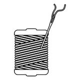 Monochrome contour with thread spool and sewing needle Royalty Free Stock Photo