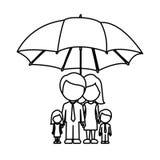 Monochrome contour of umbrella protecting faceless family group. Illustration  illustration Royalty Free Stock Photography