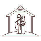 Monochrome contour with virgin mary and saint joseph embraced under manger Royalty Free Stock Photo