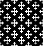 Monochrome Cross Seamless Pattern. Black&white Vector Illustration Stock Photos