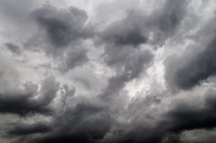 Monochrome of dark cloudy sky before storm stock image