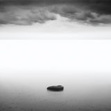 Monochrome. Daytime long exposure seascape with object in the sea. The photo taken in black and white. Black sea, Odessa, Ukraine Stock Images