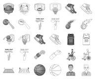 Monochrome de basket-ball et d'attributs, icônes d'ensemble dans la collection réglée pour la conception Vecteur de joueur de bas illustration stock