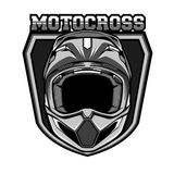 Monochrome de casque de motocross Images libres de droits