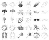 Monochrome de repos d'été, icônes d'ensemble dans la collection réglée pour la conception Illustration accessoire de Web d'action illustration libre de droits