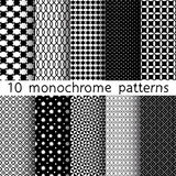 10 Monochrome different vector seamless patterns. Set of black and white geometric ornaments. Endless texture can be used for wallpaper, pattern fills, web Vector Illustration