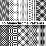 Monochrome different vector seamless patterns Stock Photos