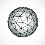 Monochrome dimensional vector low poly object, trigonometry shap. E. Technology 3d spherical element made with triangular facets for use as design form in Royalty Free Stock Images