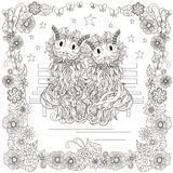 Monochrome doodle hand drawn cats pair on bench, stars, flowers frame. Anti stress stock vector illustration Stock Photo