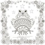 Monochrome doodle hand drawn frog, stars flowers frame. Anti stress. Stock vector illustration Royalty Free Stock Photo