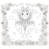 Monochrome doodle hand drawn owl, stars, floral frame. Anti stress stock Royalty Free Stock Image