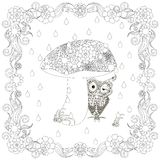 Monochrome doodle hand drawn owl under mushroom in flowers frame. Anti stress Stock Images