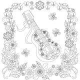 Monochrome doodle hand drawn stylized guitar in flowers frame Stock Image