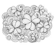 Monochrome Doodle St Patrick`s Day Background. Decorative Clover Leaf Talisman, Abstract Coins and Swirl. Elegant Natural Motif. Coloring Book Page. Vector 3d Royalty Free Stock Photo