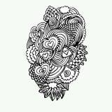 Monochrome Doodle Zentangle с иллюстрацией вектора сердец Стоковые Фото