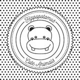 Monochrome dotted background with silhouette frame decorative and face hippos cute animals text. Vector illustration Stock Images