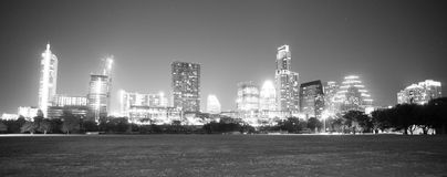 Monochrome Downtown Austin Texas Skyline View Zilker Metropolita Stock Image