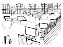 Monochrome drawing of interior of open co-working space with desks, computers, chairs and other modern furnishings. Hand vector illustration