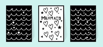 Monochrome drawing poster. The inscription mermaid and hearts. Black and white vector illustration for the wall in the nursery royalty free illustration