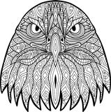 Monochrome drawing of a severe eagle with patterns. Line art Royalty Free Stock Photos