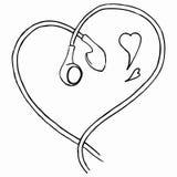Monochrome earphones heart shaped love music line art isolated vector Stock Photos