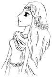 Monochrome elf girl princess anime manga cartoon sketch vector Royalty Free Stock Photography