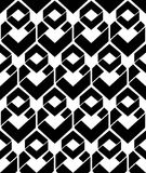 Monochrome endless vector texture with geometric figures, motif. Abstract contemporary geometric background. Creative black and white symmetric continuous Stock Image