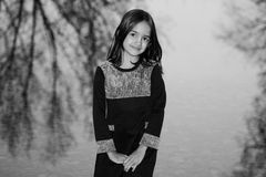 Monochrome Fashion Shot of Little Girl Royalty Free Stock Photos