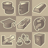 Monochrome finance icons. Set of monochrome finance retro icons. Hatched in style of engraving. Vector illustration Royalty Free Stock Images