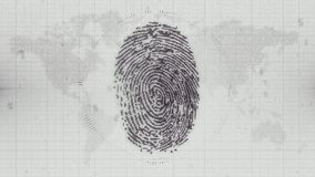 Monochrome fingerprint electronic ID on Earth map background. Pixelated computer scan of fingerprint ID on numerical data map of the world with HUD elements Royalty Free Stock Images