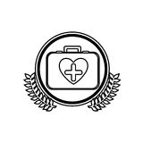 Monochrome firts aid kit with symbol cross in heart in circle with olive branchs Stock Photography