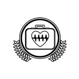 monochrome firts aid kit with symbol line of vital sign in heart inside circle with olive branchs Royalty Free Stock Photos