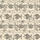 Monochrome fish Seamless Pattern Royalty Free Stock Photo