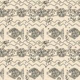 Monochrome fish Seamless Pattern. Grunge Royalty Free Stock Photo