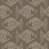 Monochrome fish Seamless Pattern. Grunge Stock Photography