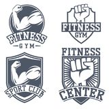 Monochrome fitness emblem design element gym sport club strong equipment silhouette vector illustration. Royalty Free Stock Photography