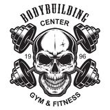 Monochrome fitness logo template. With skull and crossed dumbbells isolated vector illustration vector illustration