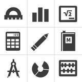 Monochrome flat maths icons Stock Photos
