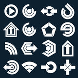 Monochrome flat vector abstract shapes, different business icons Royalty Free Stock Photos