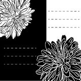 Monochrome floral background with hand drawn peonies flowers. Abstract vintage background with floral retro element with space for your text. Vector royalty free illustration