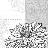 Monochrome floral background with hand drawn peonies flowers. Abstract vintage background with floral retro element with space for your text. Vector stock illustration