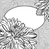 Monochrome floral background with hand drawn  peonies flowers Royalty Free Stock Image